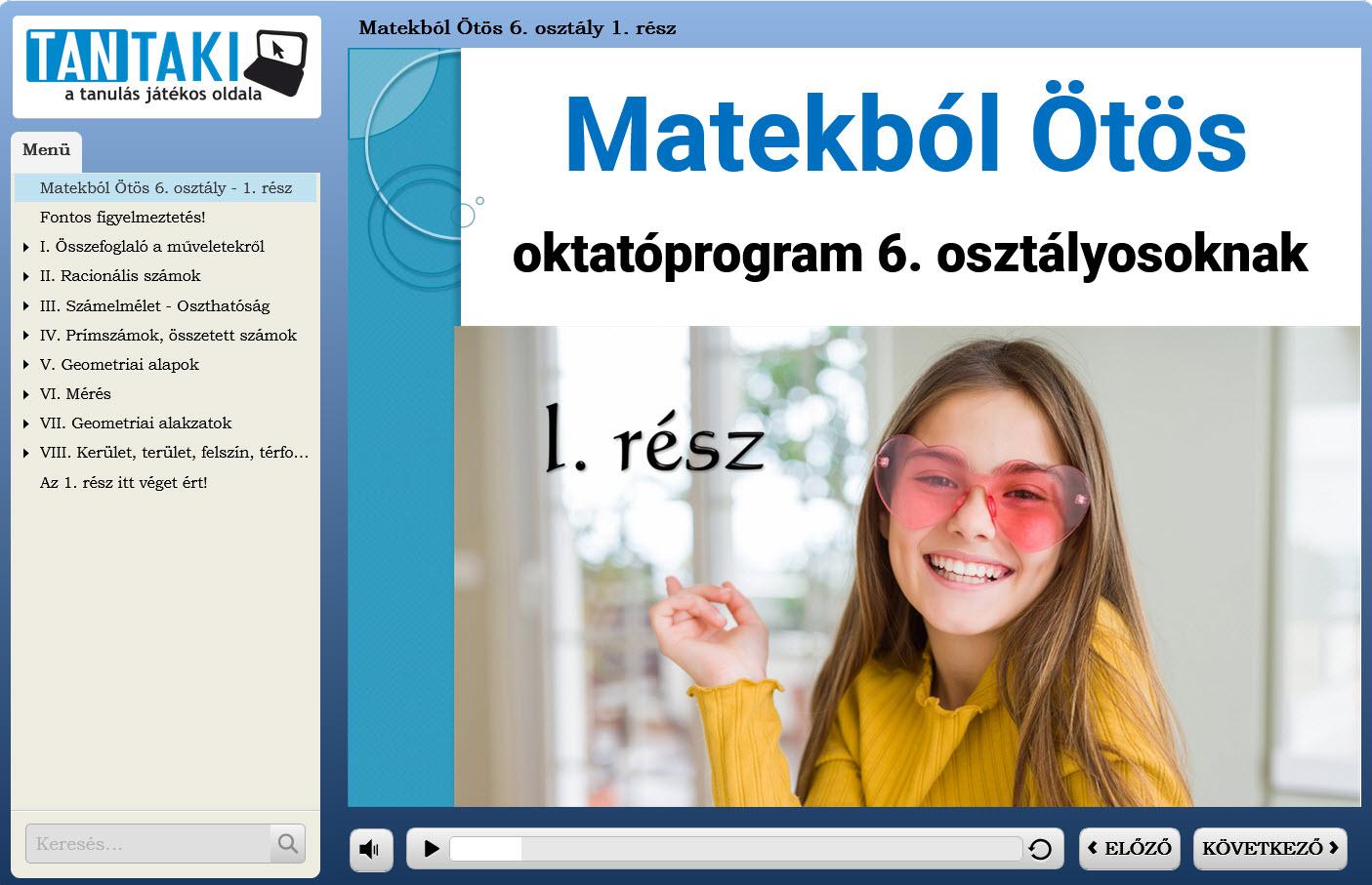 Matekból Ötös oktatóprogram 6. osztály 1. rész