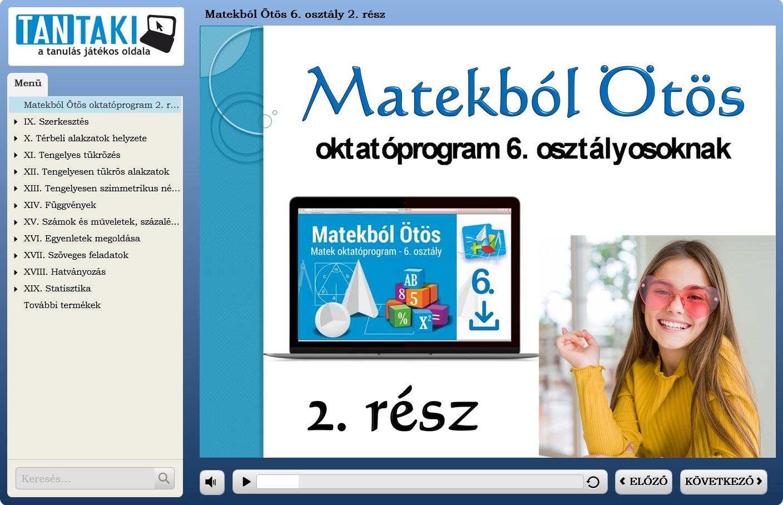 Matekból Ötös oktatóprogram 6. osztály 2. rész